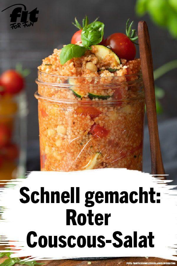 Perfekt für die nächste Mittagspause oder unterwegs: Roter Couscous-Salat …   – Low carb