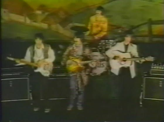"""Some weeks ago I published the first promo video for Hello Goodbye. This is the second version, the one in which the Beatles are wearing their own (mod) clothing (Ringo w/his typical striped kit, with """"Beatles"""" on bass drum front; countryside backdrop)"""