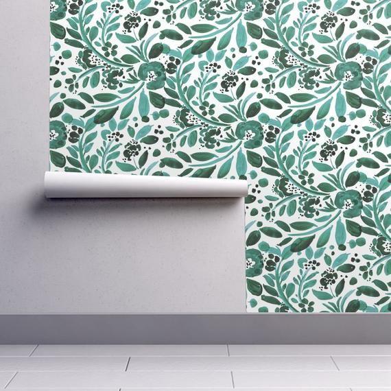 Floral Wallpaper Jade Floral By Crystal Walen Jade Green Etsy Floral Wallpaper Wallpaper Removable Wallpaper