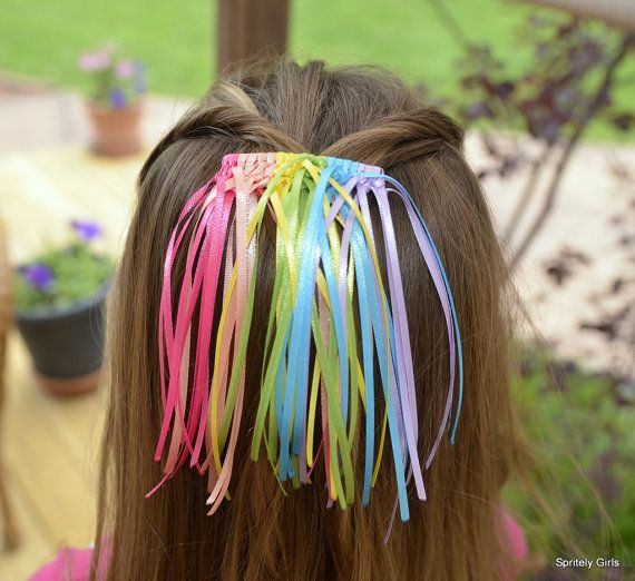 Pastel Rainbow Sherbert Waterfall Barrette. Oh my gosh, my mom used to make me these when I was in elementary school!