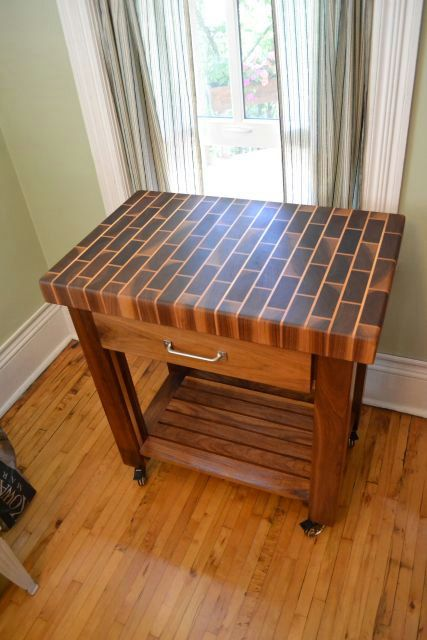 Black Walnut End Grain butcher block cart -