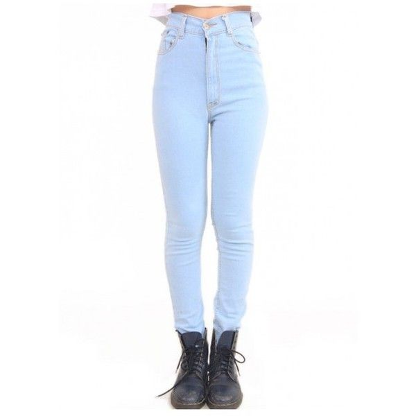 High Waist Skinny Zip Up Jeans With Contrast Sticthing. | Light Blue |... ($16) ❤ liked on Polyvore featuring jeans, pants, bottoms, skinny fit jeans, blue jeans, cotton skinny jeans, high waisted blue jeans and light blue skinny jeans