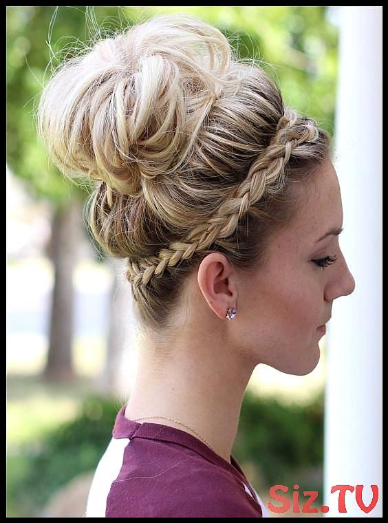 Top Bun With Braided Headband Hairstyle Top Bun With Braided Headband Hairstyle Hairstyle Is Simple And Classic With A High Bun And A Braided Piece Wr...