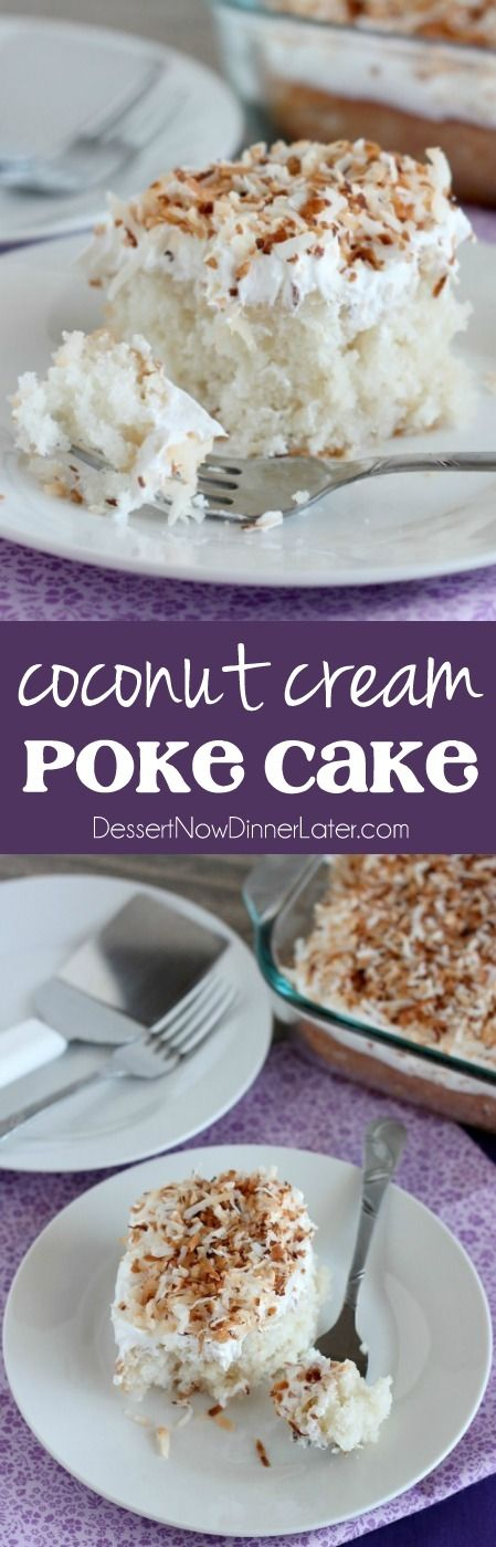 Coconut Cream Poke Cake starts with a cake mix, is soaked with cream of coconut, and slathered with whipped topping and crunchy toasted coconut!