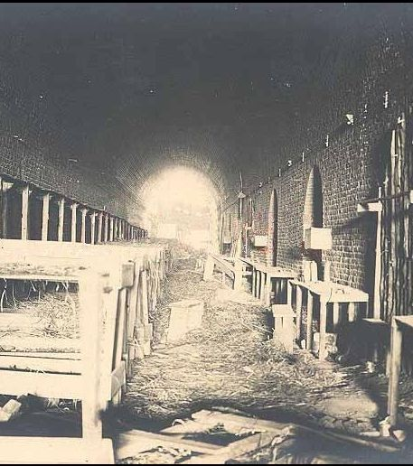 WWI; Railway tunnel at the entrance of the village of Chauny  served during the war as a dormitory for the German army.