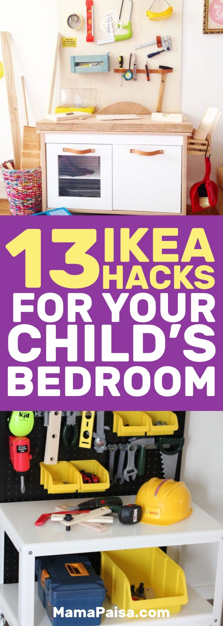I'm always on the lookout for better ways to organize my kids' stuff. These 13 IKEA hacks for kids hits just the right spot. #DIY #IKEAHacks #HomeDecorIdeas