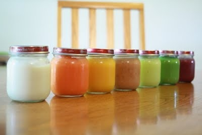 Homemade baby food using a Magic Bullet: chicken/potatoes, carrots, butternut squash/apple, peach/banana/apple/strawberry, zucchini, peas, blueberry/banana/apple/strawberry.  You have to read up on potatoes though; I thought they were only safe for babies 12 months or older.