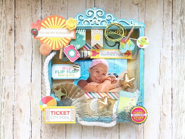Scrapbooking shadow box from scrapiniec. #summer #summertime #sea # rest #sun #flipflops # mixmedia