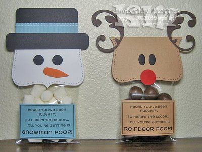 """Snowman and reindeer toppers - download template. Packages you make yourself of """"elf donuts"""" (Cheerios with glaze and sprinkles on them,) """"snowman poop,"""" (mini marshmallows,) """"coal,"""" (bits of licorice candy) or other funny things. Could use maltesers for reindeer, marshmellows for snowman, tic tacs, raisins in yoghurt..."""