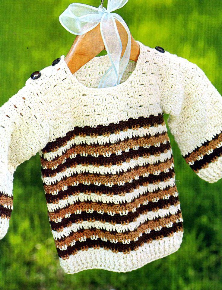 sueter para niño tejido en crochet con guardas