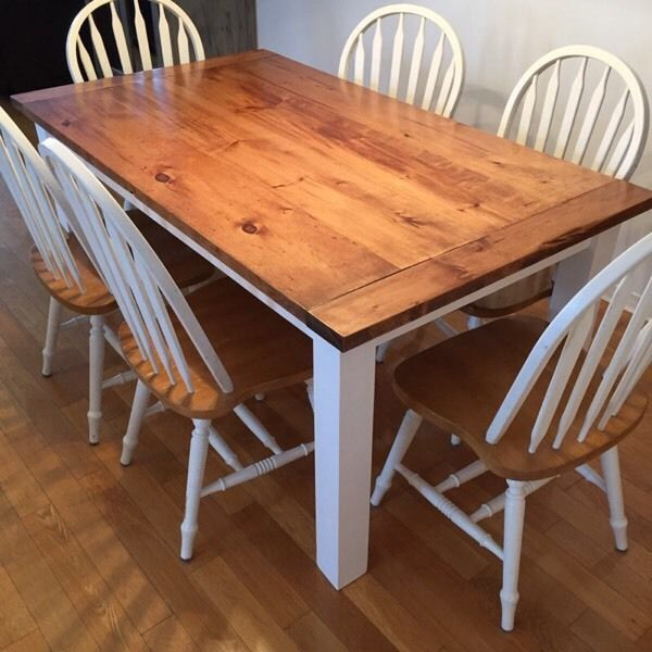 Hand built farm table made from pine and cedar post legs