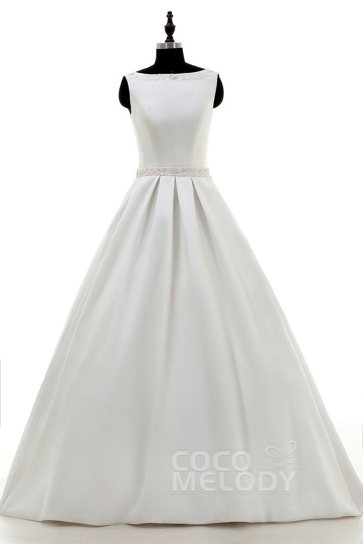 人気 トレーン サテン アイボリー ノースリップ ウェディングドレス ちょう結び スパンコールS LWAT1503B