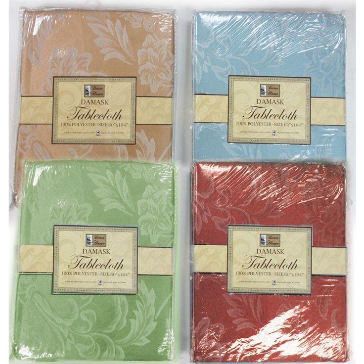 "1Pc Fabric Oblong Tablecloth Rectangular 60"" X 104"" Damask Pattern Asst Colors"