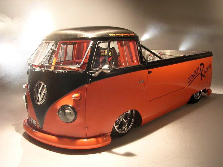 VW bus Volkswagen pickup flatbed camper campervan kombi race drag custom