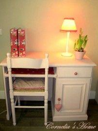 Lief landelijk meiden bureau buro in rose krijtverf met Pip plakfolie