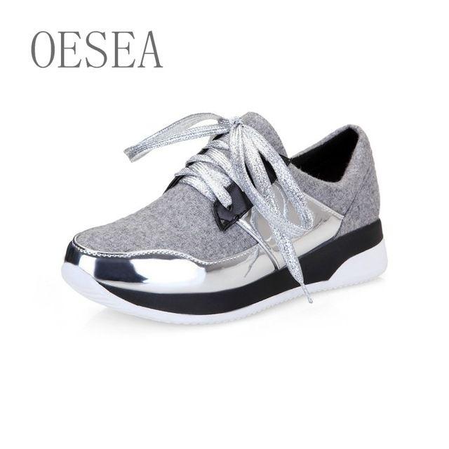 Женская обувь 2016 весна и осень простой мода повседневная обувь на плоской подошве