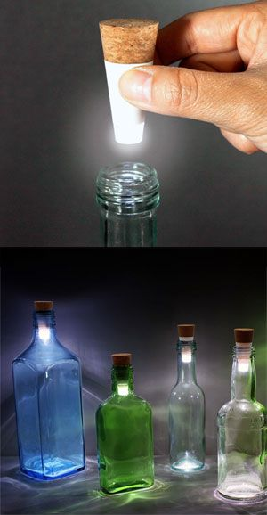 Add a touch of class to any event with the Bottle Light by Steve Gates. These rechargeable LED lights fit into your old bottles and create perfect mood lighting for a romantic dinner or outdoor party.
