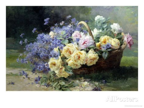 Basket of Flowers Giclee Print by Albert Tibulle de Furcy Lavault at AllPosters.com
