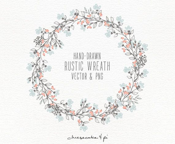 Floral wreath: Hand drawn floral wreath clipart / Wedding invitation clip art / commercial use / PNG and Vector / Flowers / CM0062w3