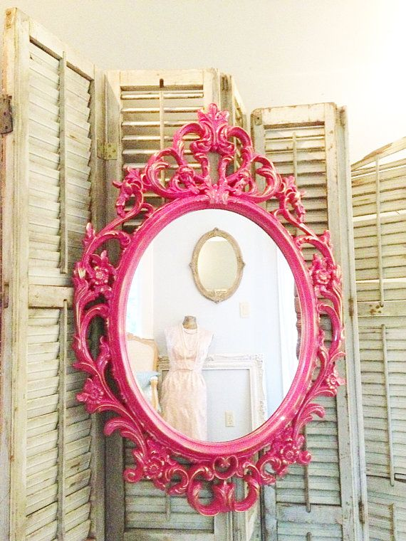 Shabby chic mirror hot pink with gold ornate oval mirror for Large portrait mirror