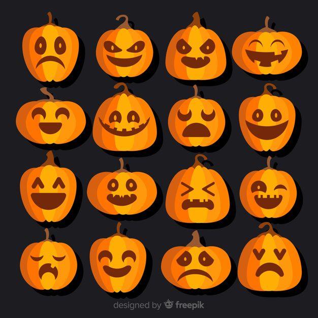 Colección Clásica De Calabazas De Halloween Con Diseño Plano Calabazas De Halloween Disenos De Unas Diseños De Calabaza