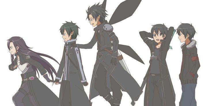 Kirito in his many forms, from left to right: GGO, ALO 2, ALO, SAO, real world