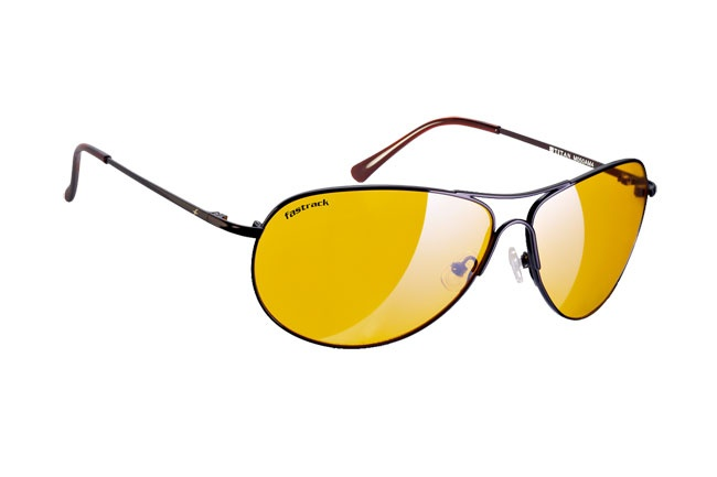 Classic aviators with light night vision amber lenses.  Bikers from Fastrack     http://www.fastrack.in/product/m050am4/?filter=yes=india=1=3=1=695=2595&_=1334566759538
