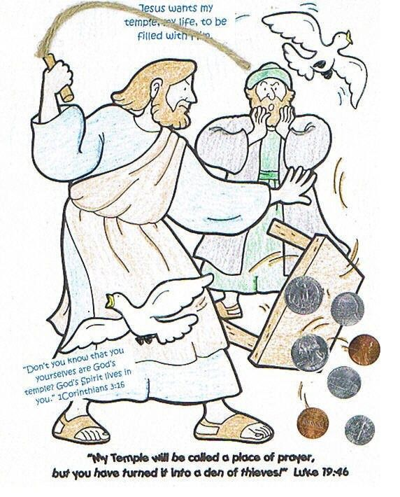 Jesus Clears The Temple Craft Coloring Page From The Really Big