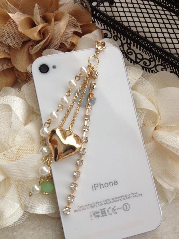 iPhone dust plug  phone dust plug Blackberry plug-3D Gold Heart. $9.00, via Etsy.