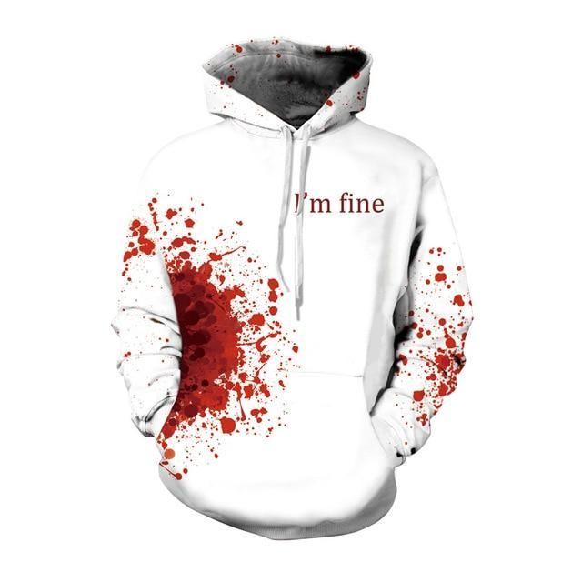 3D Print Blood Splatter Men Women Hoodie Sweater Sweatshirt Jacket Pullover Top