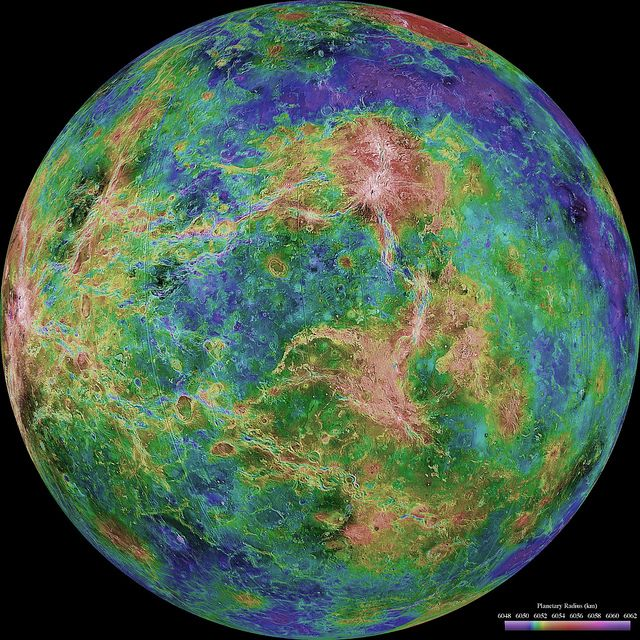 Hemispheric View of Venus by NASA Goddard Photo and Video, via Flickr  color coded to represent elevation (and to make it pretty;)