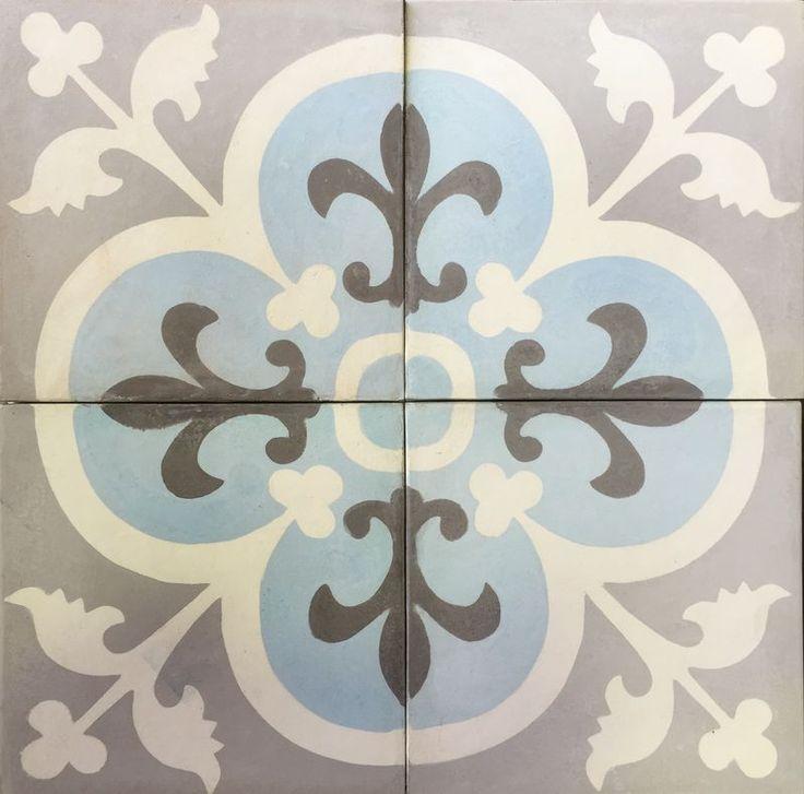 Cement Encaustic Tile Marrakesh Design Grey Centre - 988