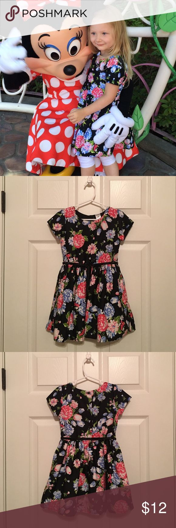 Carter's Dress-black with floral print (cotton) My daughter picked this dress from her closet to wear to Disneyland. She wanted to look her best for her idol Minnie Mouse! She received so many compliments. I removed the sparkle belt because it was daytime. Good condition. Full skirt with pockets. Shell-100% cotton. Lining-100% polyester. Machine wash and dry. Carter's Dresses Casual