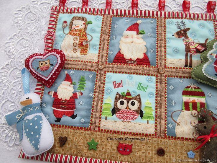 """Купить Новогоднее текстильное панно """"Новый год"""" в интернет магазине на Ярмарке Мастеров"""