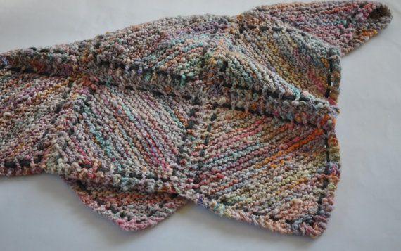 Knitted baby afghan blanket or a knee rug for granny in handspun wool