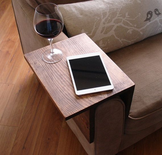 Handmade arm rest tray table with slight overhang for a larger surface area. The perfect addition to a sofa in any home, apartment, condo, or man cave.
