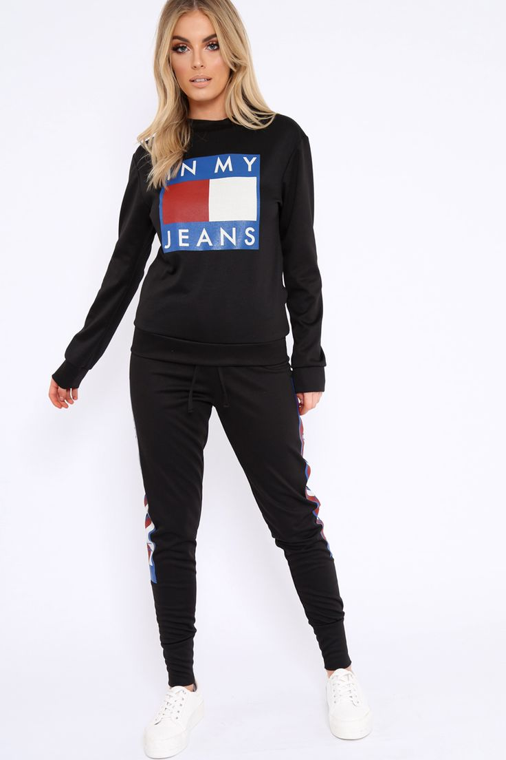 Black In My Jeans Loungewear Set - Vyolet