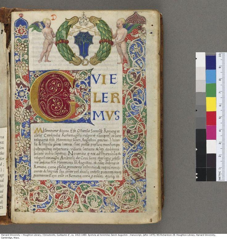 Estouteville, Guillaume d', ca. 1412-1483. Epistola ad heremitas Sancti Augustini : manuscript, [after 1475].