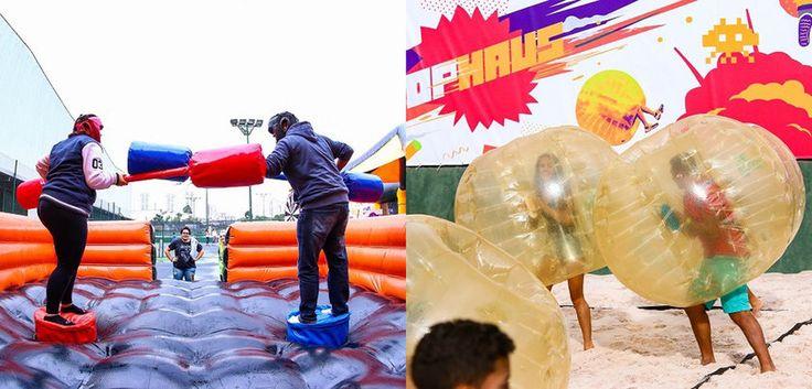 Espaço de lazer com estruturas infláveis e atividades esportivas é inaugurado em SP