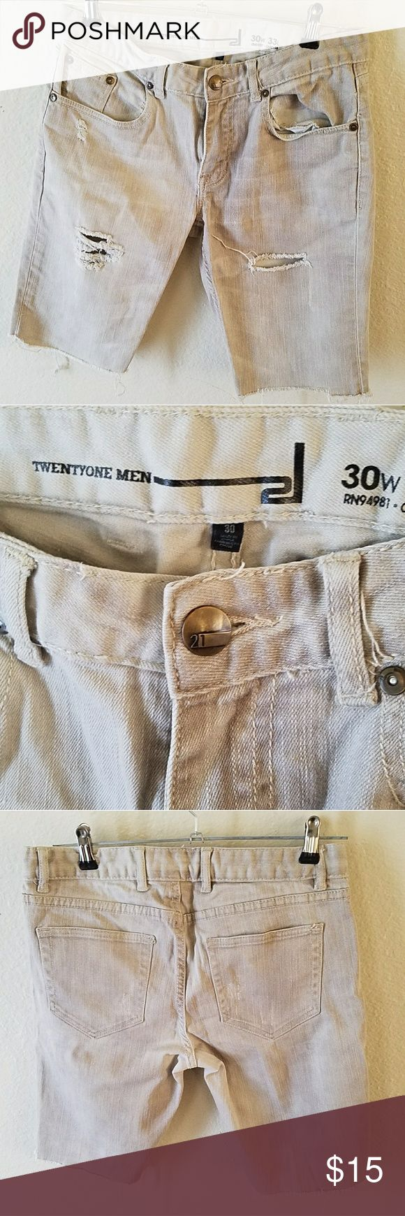 21 Men Cream Cut Off Denim Shorts Size 30 These used to be jeans and I just cut them up and distressed then a bit.  Great condition. Size 30 waist,  slim. 21men Shorts Jean Shorts