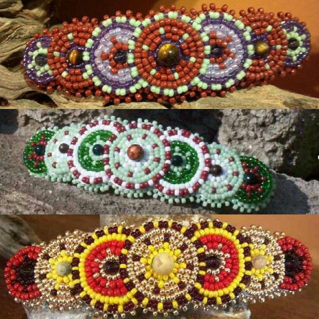 Handcrafted circle beaded rosette hair barrettes & clips. This barrette Sunburst is handmade and can be yours for $24. #buynow at inselly.com