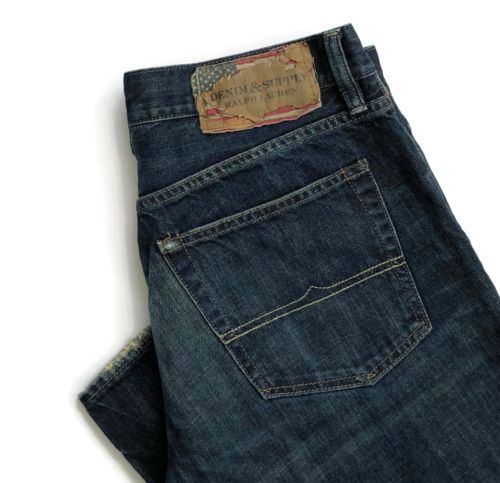 Denim-amp-Supply-Ralph-Lauren-Mens-Jeans-Size-33-x-34-Straight-Flag-Distressed
