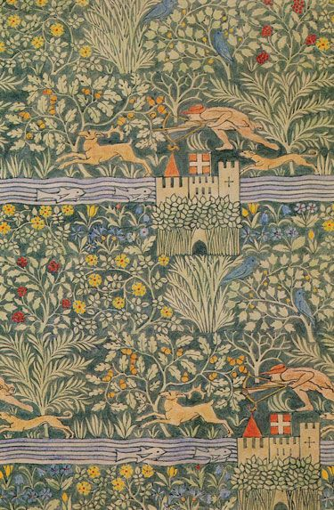 "C.F.A. Voysey 1919 ""Huntsman"" textile. Available through theartsandcraftshome"