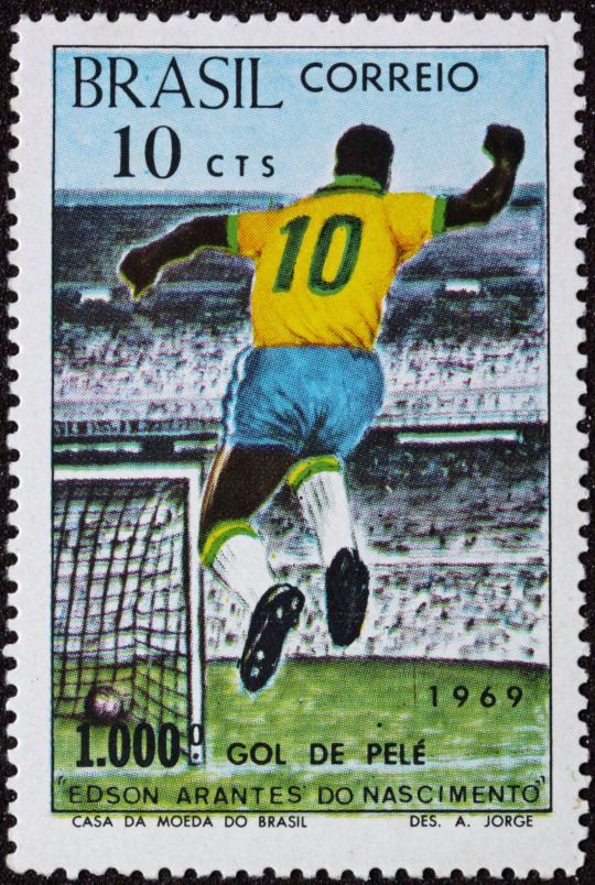 Commemorative stamp of Pele's 1000th goal which was scored playing for Santos from the penalty spot 44 years ago today against Vasco da Gama at the Estadio Maracana for the Taça de Prata, November 19th 1969.