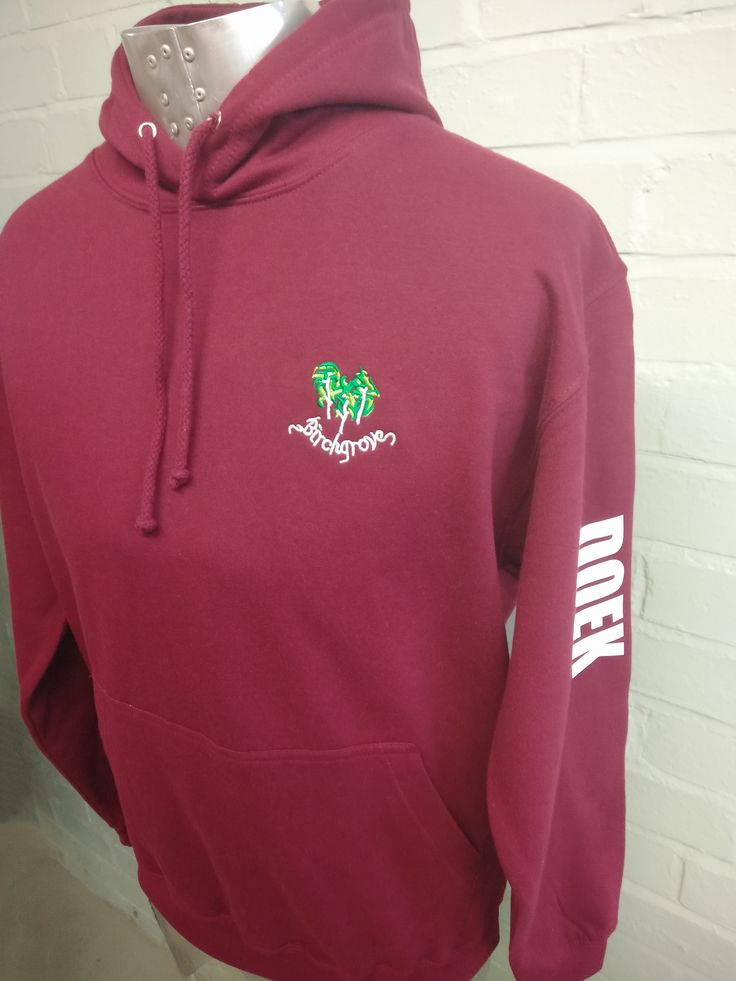 Burgundy Leavers Hoodies for Birchgrove Leavers 2016. With custom logo embroidered on the front and white Leavers names print on the back these look bright and cheerful!