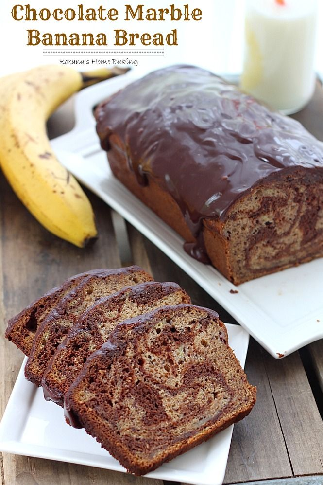 Chocolate Marble Banana Bread from Roxanashomebaking.com Rich semi-sweet chocolate swirled into a moist and delicious banana bread with a to...