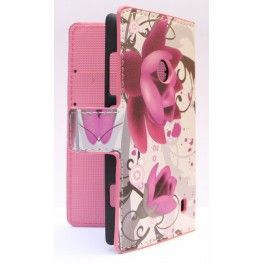 Lumia 520 violetit kukat lompakkosuojakotelo.