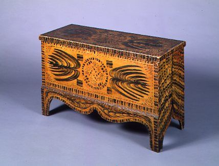 Paint decorated blanket chest C1830.(would be a good project pattern for penwork? note to me)