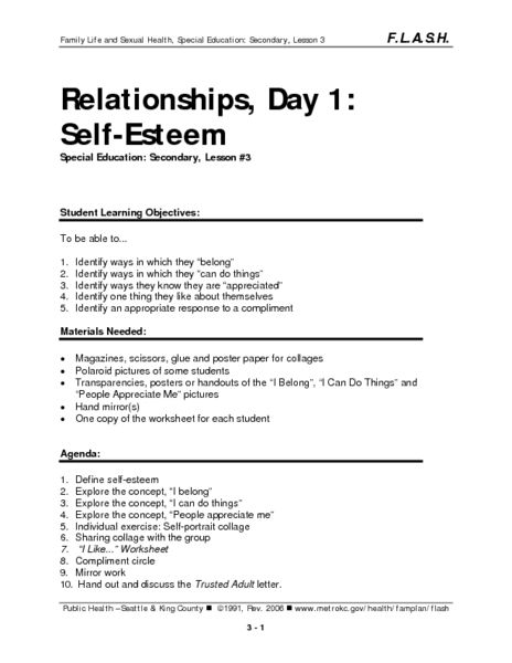 Relationships Day 1 Self Esteem Lesson Plan Lesson