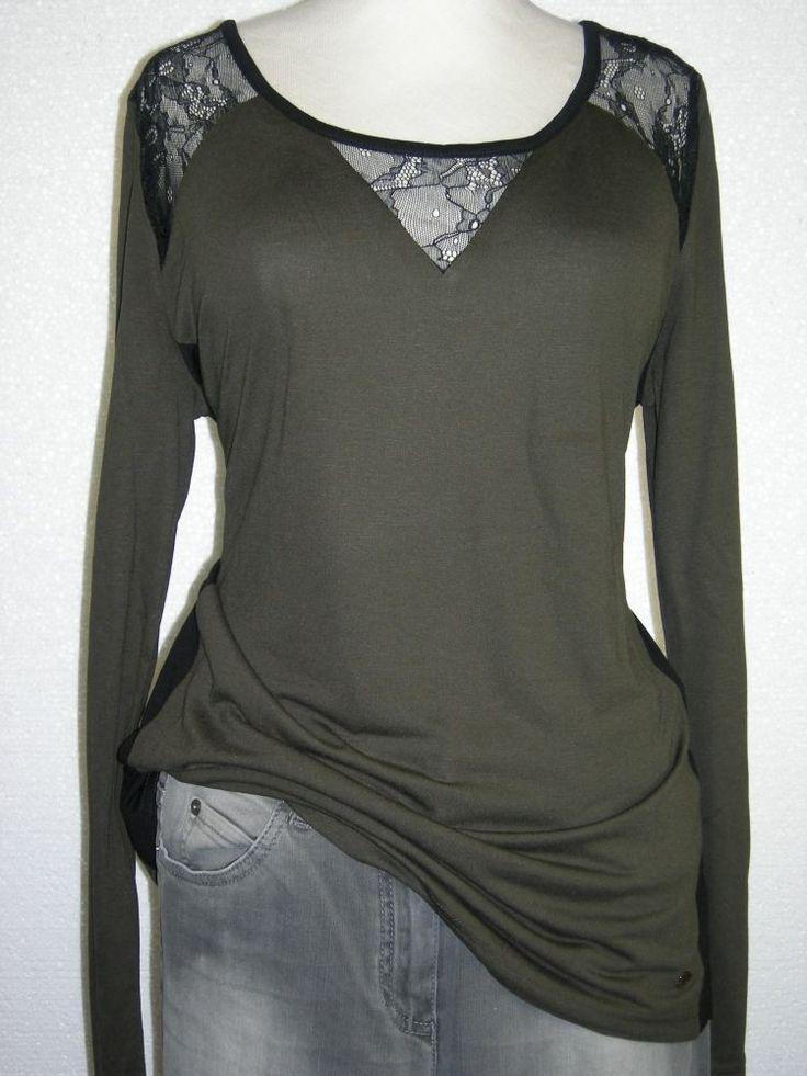 #Taifun St. Germain #t-shirt grijs of olijfgroen met zwarte kant op schouders
